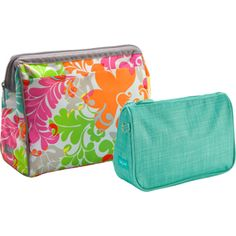 Cosmetic Bag Set in Island Damask! the larger bag opening is new, has a frame so it opens square and the bags have a lining to wipe down easily in case of spills! Another new absolute favorite and GREAT gift!
