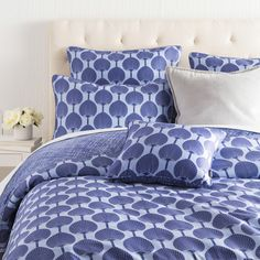 100% cotton sateen cobalt/sky blue Kabuki bedding collection by @flobroadhurst for Surya (KFB-2004).