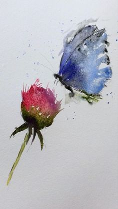 Watercolor Paintings For Beginners, Watercolor Art Lessons, Watercolor Techniques, Watercolor Painting Tutorials, Watercolor Pictures, Watercolor Ideas, Watercolor Flowers Tutorial, Butterfly Watercolor, Butterfly Art