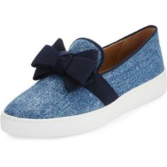 Michael Kors Val Denim Jacquard Bow Skate Sneaker (840.635 COP) ❤ liked on Polyvore featuring shoes, sneakers, blue, michael kors shoes, platform slip-on sneakers, platform slip on shoes, blue flat shoes and flat sneakers