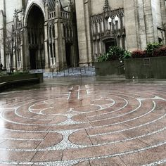 Grace Cathedral and Labyrinth in San Francisco, California, on a rainy day | JoeGarity | Flickr