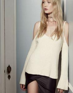 Cold Shoulder Bell Sleeve Sweater