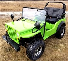 Check out the the Lime Green Mini Gas Golf Cart jeep Mini Truck ELITE Edition - Lifted With Custom Rims And Fender Flares - EliteMini-LimeGreen! Call for more information. Golf Cart Motor, Gas Golf Carts, Golf Carts For Sale, Custom Golf Carts, Golf Cart Repair, Golf Cart Bodies, 4x4, Mini Jeep, Electric Golf Cart