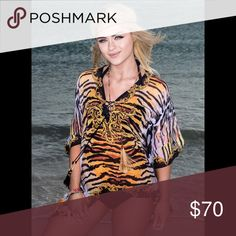 Digital Print Short Kaftan Laced up If you are an animal print lover, this is for you! To wear as a cover up, blouse or Tunic Tops Tunics