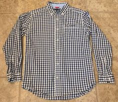 Tommy Hilfiger Boys M 12/14 Navy White Check Button Down Shirt #TommyHilfiger