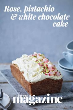 This Turkish-inspired rose, pistachio and white chocolate loaf cake is packed with flavour and topped with a white chocolate icing to finish Chocolate Loaf Cake, White Chocolate Cake, Chocolate Icing, Loaf Recipes, Cake Recipes, Dessert Recipes, Mini Tortillas, Mini Loaf Cakes, Pistachio Cake