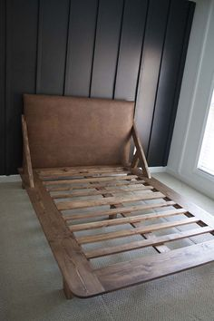 How to build a beautiful DIY bed frame & wood headboard easily. Free DIY bed plan & variations on king, queen & twin size bed, best natural wood finishes, and lots of helpful tips! - A Piece of Rainbow Wooden Bed Frames, Wood Beds, Wooden Queen Bed Frame, Painted Bed Frames, Diy King Bed Frame, Diy Platform Bed Frame, Platform Bed Plans, Modern Platform Bed, Bed Frame Plans