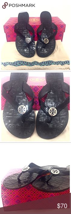 Tory Burch Thora Flip Flop Leather Sandals Authentic Tory Burch Thora Black Leather Flip Flops with silver medallion Preloved but still in good condition and very clean. No major damage. Most of the wear can be seen on soles. Please zoom on all photos.  Patent leather strap. Black leather upper sole.  A shiny silver metal logo medallion tops a stylishly casual flip-flop with a fabulously detailed, logo-embossed lining, rubber sole.  Will ship with dust bag or box. Let me know which one you…