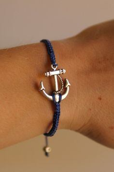 73dbbce0fd53 CUSTOM Anchor Bracelet - silver and poly cord with macrame adjustable  sliding knot. Pulsera De Ancla HombrePulsera ...