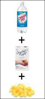 Club Soda + Crystal Light Fruit Punch Mix + Pineapple Chunks = Fizzy Fruity Pineapple Punch