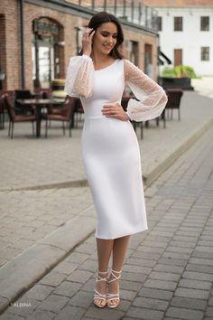 Simple Long Dress, Simple White Dress, Simple Dresses, White Dress With Sleeves, Formal Dresses With Sleeves, Short Dresses, Elegant Dresses Classy, Classy Dress, Civil Wedding Dresses