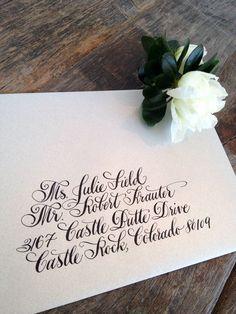 Gorgeous calligraphy by designsgirl. Envelope Lettering, Calligraphy Envelope, Envelope Art, Modern Calligraphy, Wedding Calligraphy, Calligraphy Fonts, Script Fonts, Invitation Fonts, Wedding Invitation Wording