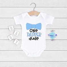 One Dapper Dude onesie with bow tie for baby boys. Handsome boy. Baby boy. Jungle Theme Birthday, Safari Theme, Custom Baby Onesies, First Birthday Shirts, Birthday Photos, Handsome Boys, Baby Bodysuit, Baby Names, Dapper