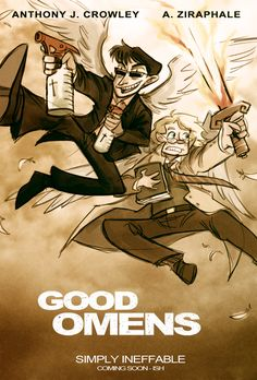 Good Omens: The Other Guys by animagess - a parody movie poster of buddy-cop movie The Other Guys.