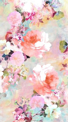 'Romantic Pink Teal Watercolor Chic Floral Pattern' iPhone Case by GirlyTrend - floral graphic borders - Wallpaper Iphone Wallpaper Modern, Floral Wallpaper Phone, Wallpaper Pastel, Pastel Background Wallpapers, Pretty Wallpapers, Flower Backgrounds, Flower Wallpaper, Floral Wallpapers, Wallpaper Art