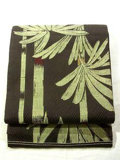 Elegant bamboo-Genjiko Pattern Vintage Chuya Obi
