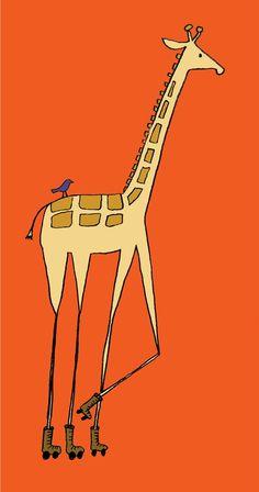 Nursery Art Giraffe on Rollerskates print by sloeginfizz on Etsy