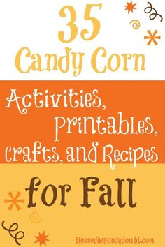 A round up of 35 seasonal hands on candy corn activities, free printables, and fun crafts to use this fall! Work Activities, Halloween Activities, Autumn Activities, Preschool Halloween, Fall Preschool, Preschool Crafts, Candy Corn Crafts, Fall Candy, Fun Learning