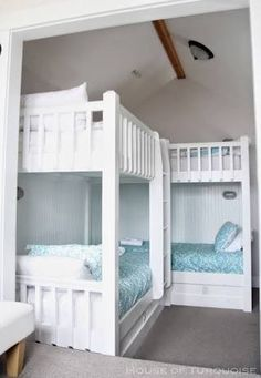 House of Turquoise: Fish Tales - Seabrook, Washington bunk room Corner Bunk Beds, Bunk Beds Small Room, Bunk Bed Rooms, Bunk Beds With Stairs, Cool Bunk Beds, Kids Bunk Beds, Loft Beds, Triple Bunk Beds, Double Beds