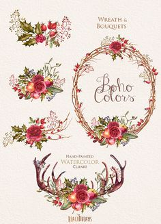 Etsy の Watercolor Boho Clipart. Flowers Wreath and by ReachDreams