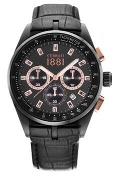 Mens Watch CERRUTI CRA094F222G Chrono Black Dial & Leather Date Tachymeter