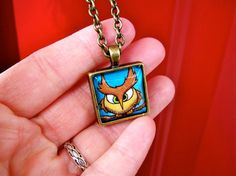 Antiqued Brass Necklace  Square Owl Illustration by MadShinyShoppe, $20.00