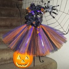 Orange/Purple/Black Halloween Witch-Costume-Adorable-Vibrant-Unique--Special-Fall-Autumn-Trick or Treat--Photo--Baby/Infant/Toddler--Girl
