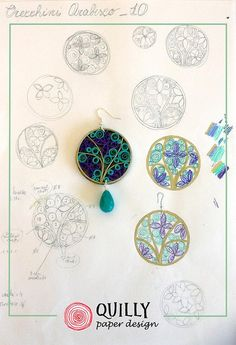 Quilling Designs for Recycled Paper Jewelry Paper Quilling Jewelry, Quilled Paper Art, Quilling Earrings, Paper Quilling Designs, Quilling Craft, Paper Earrings, Quilling Patterns, Paper Jewelry, Paper Beads