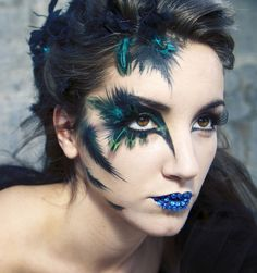 Lovely blue &  green feather makeup