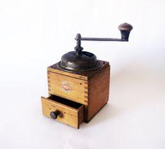 Gorgeous Vintage wood coffee grinder   wood mill and by wwvintage, $55.00