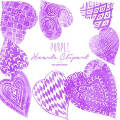 Purple Hearts Clipart  digital printable clipart by Scrapstorybook