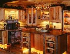 Log Cabin Kitchen Ideas 67