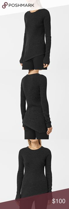 Allsaints Keld cinder black marl sweater XS S Crafted from the finest merino wool, this crew neck jumper features multi-directional ribbing and an asymmetric hem. Color cinder black marl. 100% merino wool All Saints Sweaters Crew & Scoop Necks