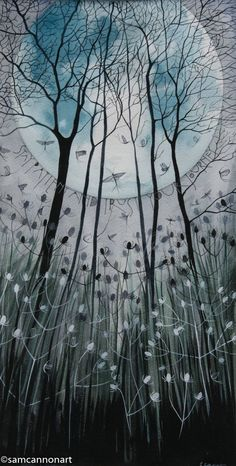 Contemporary whimsical winter nature art illustration print Sam Cannon art - stay patient and trust your journey Sam Cannon, Moon Photography, Tree Art, Word Art, Painting Inspiration, Watercolor Art, Art Projects, Art Drawings, Illustration Art