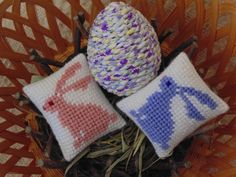 Shabby Chic Easter Bunnies and Egg, Set of Three, Bunny Needle Art Pillows, Decorated Egg, Basket Fillers, Bowl Filler, Easter Decor by BunniesMadeOfBread on Etsy