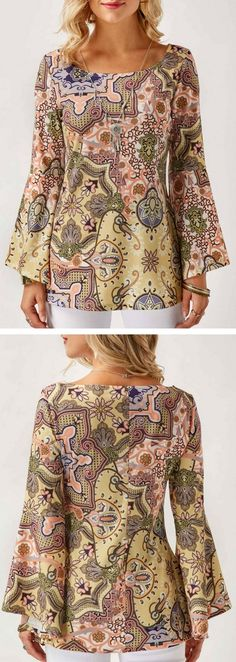 Flare Sleeve Printed Scoop Neck Blouse.