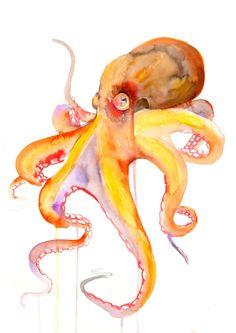 ORIGINAL octopus Watercolor Painting sea life by WatercolorMary #watercolorarts