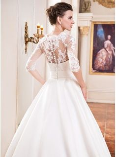 Ball-Gown Square Neckline Court Train Satin Wedding Dress With Ruffle Lace Beading Sequins (002055084) - JJsHouse