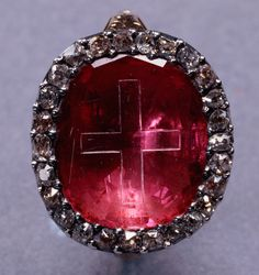 Stuart Coronation ring, gold, silver, ruby and diamonds, circa 1660 or earlier with later editions