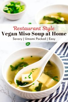 Umami packed vegan miso soup recipe that's made without bonito flakes! You now can have restaurant-style miso soup at home, vegan style! A delicious soup recipe that your family will absolutely love! #misosoup #miso #souprecipes #vegetariansoup #japanesesoup #brothysoup Easy Vegan Soup, Vegan Miso Soup, Vegetarian Soup, Vegan Soups, Healthy Soup Recipes, Vegan Breakfast Recipes, Delicious Vegan Recipes, Vegetarian Recipes