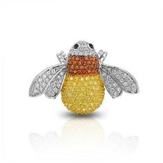 Bling Jewelry Yellow Citrine Orange Sapphire Color CZ Bumble Bee Pin... ($50) ❤ liked on Polyvore featuring jewelry, brooches, multicolor, yellow sapphire jewelry, cz jewelry, animal jewelry, multi colored sapphire jewelry и bumble bee brooch