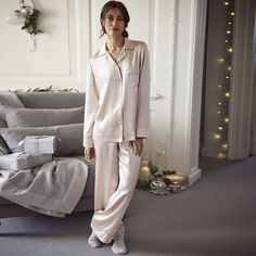 Silk Piped Pyjama Set - Soft Rose  from The White Company