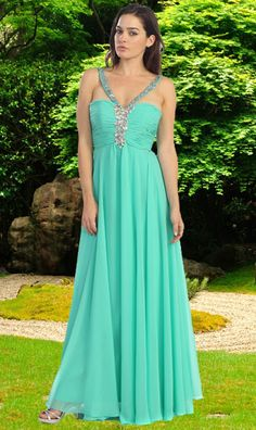 This is an elegant and sexy long evening dress by Eureka, made in chiffon, embellished by beautiful stones, with a great back, shawl included. It is a great evening dress for a bridesmaid, cocktail, or any special occasion #promdresses #longeveningdresses