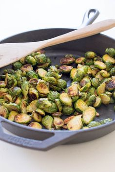 Spicy Roasted Garlic Brussels Sprouts -- cook at 425 or so instead of 375!