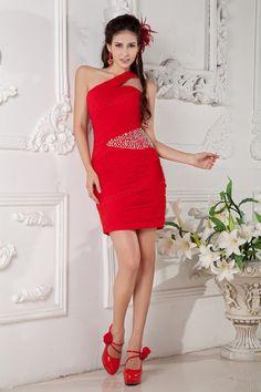 Sheath/Column One Shoulder Satin Chiffon Mini/Short Length Sequins Color Wedding Dress