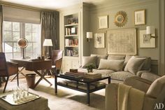 Traditional Living Room by Suzanne Kasler Interiors. Painted in a Benjamin Moore gray, the master sitting room in Suzanne Kasler's Atlanta home contains a cocktail table she designed for Hickory Chair and a sofa by Nancy Corzine. Atlanta Homes, Interior, Living Room Paint, Family Room, Home, Paint Colors For Living Room, House Interior, Grey Room, Interior Design