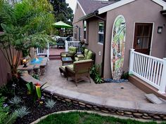 """""""Whispering Palms II"""" Oceanside, CA Custom Mosaic Surfboard Shower Recycled surfboard and mirror with glass Inside Bar, Inside Outside, Custom Surfboards, Backyard Paradise, Outdoor Spaces, Outdoor Decor, Garden Oasis, Fire Glass, Custom Shower"""