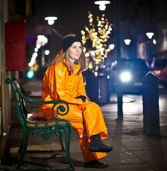 What's nice about this is she has her trousers over the jacket top.a favourite way to wear your gear. Raincoat Jacket, Pvc Raincoat, Yellow Raincoat, Country Wear, Rain Gear, Raincoats For Women, Overall, Work Wear, What To Wear