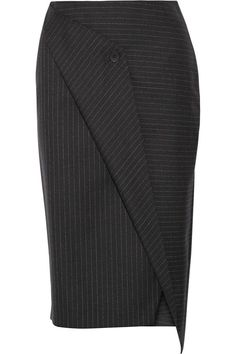 Shop on-sale DKNY Wrap-effect pinstriped wool-twill skirt. Browse other discount designer Skirts & more on The Most Fashionable Fashion Outlet, THE OUTNET. Skirt Pants, Dress Skirt, Elegante Y Chic, Curvy Hips, Diy Mode, Outfit Combinations, Business Attire, Office Fashion, Work Attire