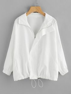 Drawstring Hem Zip Up JacketFor Women-romwe